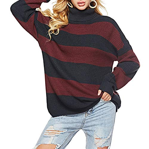 TINERS Womens coltrui streep lange mouwen gebreide trui dikke warme trui voor herfst en winter, rood en blauw, XL