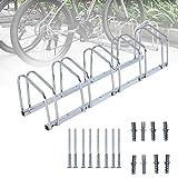 lxiluv Aparcamiento para Bicicletas, Aparcamiento 3/5/6 Bicicletas Soporte Aparcar Bici Suelo Y Pared Garaje Almacenamiento Acero,5gears
