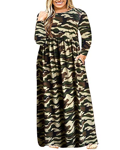 KARALIN Women's Long Sleeve Loose Plain Casual Plus Size Floral Print Maxi Dress with Pockets (22W,Light Camouflage)