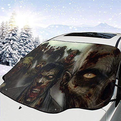 MOLLUDY Protector para Parabrisas Impermeable Multifunción Dark Zombie Protector para Parabrisas con imán Cubierta de Parabrisas Coche Protege de Rayos Antihielo y Nieve