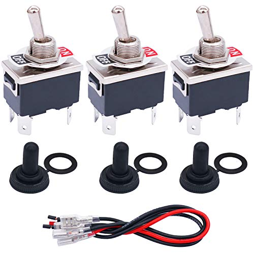 TWTADE 3 Pcs Toggle Switches 4 Pin 2 Position ON/Off DPST Heavy Duty Rocker Toggle Switch 16A 250VAC Spade Terminal Metal Bat Switch with Waterproof Boot Cap and 6.3mm Terminal Wires TEN-1221MZX