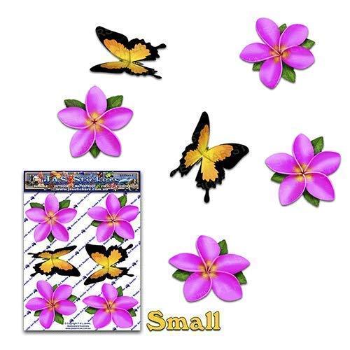JAS Stickers® Blume Schmetterling Auto Aufkleber - Rosa - Einzel Frangipani Plumeria Tier Klein Vinyl Aufkleber Pack Für Laptop Gepäck Fahrrad Wohnwagen Wohnmobile LKWs & Boote-ST00041PK_SML