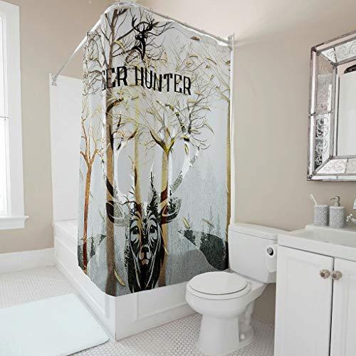 Lind88 Deer Hunter - Cortina de ducha con impresión personalizada de fácil lavado para baño (150 x 180 cm), color blanco