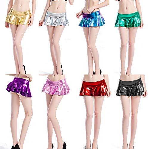 Qiansu Mujeres Shiny Metallic Faldas Ladies Summer Silver Wet Look Latex Layer Faldas Rave Festival Stretchy Flared Mini Skater Falda Clubwear, S-2XL