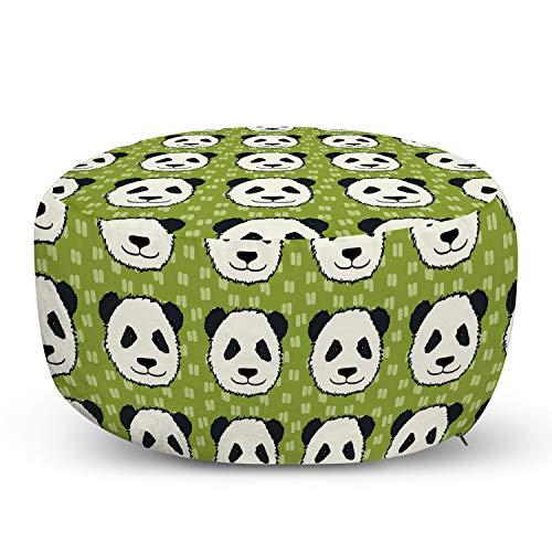 Ambesonne Panda Pouf Cover with Zipper, Cartoon Funny Hand Drawn Style Panda Bear Heads Animal Pattern Funny Furry Mammal, Soft Decorative Fabric Unstuffed Case, 30' W X 17.3' L, Multicolor