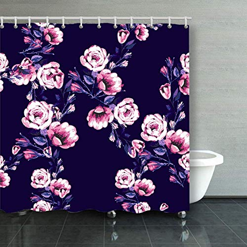 BGNHG Cortina de la Ducha Shower Curtain Seamless Pattern Roses Branch