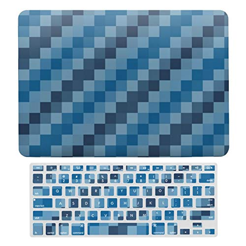 For MacBook Air 13 13 Inch Case A1466、A1369 Hard Shell Cover for MacBook Air 13 Case & Keyboard Cover, Blue Checks Laptop Protective Shell Set