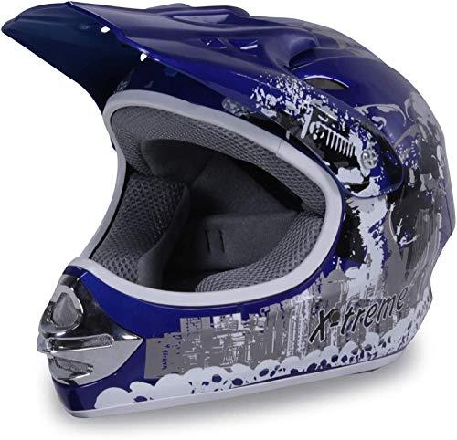 Actionbikes Motors Motorradhelm Kinder Cross Helme Sturzhelm Schutzhelm Helm für Motorrad Kinderquad und Crossbike in blau (Large)