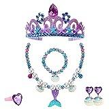 6 Piezas de Accesorios de Vestir de Sirena, Princesa, Corona Púrpura, Collar, Pulsera, Anillo, Pendientes, Adecuados para Disfraces, Cosplay Carnaval, Cumpleaños Party, Halloween