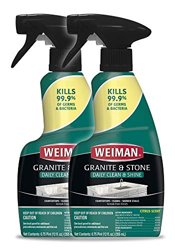 Weiman Disinfectant Granite Daily Clean & Shine - 12 fl oz (2 Pack) Safely Clean Disinfect and Shine Granite Marble Soapstone Quartz Quartzite Slate Limestone Corian Laminate Tile Countertop