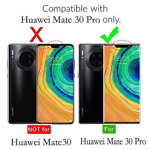 Tianniuke Huawei Mate 30 Pro Hülle, Echt Leder hülle mit Kartenfach Standhülle Flip Schutzhülle, Brieftasche Wallet Handyhülle für Huawei Mate 30 Pro (Schwarz) - 2