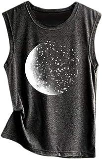 YANG-YI Women's Moon Planet Print Vest Tank Top Casual Loose Sleeveless Sport Tunic Crop Tops
