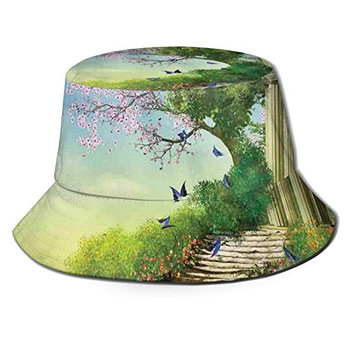 FULIYA Unisex Fisherman hat,Gazebo at The Top of A Hill with Stone Stairs and Flowers Magical Medieval Land,Summer Beach hat