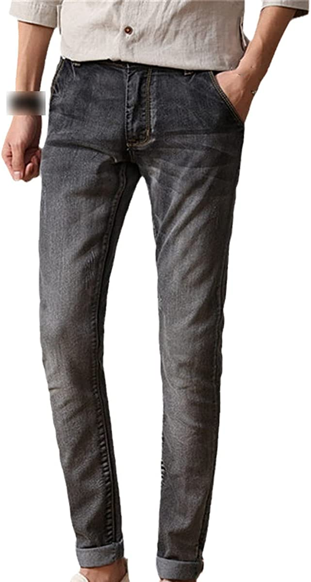 Men's Stretch Jeans Fashion Slim Fit Skinny Jeans Casual Pants Green Black Blue
