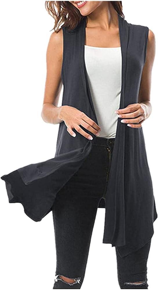 Women's Sleeveless Draped Open Max 51% OFF Front C Vest Hem Asymmetric Vests 1 year warranty