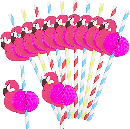 Pajitas de Papel,RoadLoo 100 Piezas Pajitas Para Beber 3D Flamingo Papel de Fruta Paja Piña Pajitas de Cóctel Pajitas para Cóctel Bebidas Tropicales Playa Cumpleaños Celebración de Bodas Fiesta