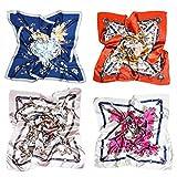 Monllack Bufandas de Seda, 4 Piezas 90Cm Bufanda de Seda Primavera y otoño Bufanda de Mujer Bufanda Cuadrada con Estampado de Seda de imitación Bufanda de Accesorios de Moda (Multicolor)
