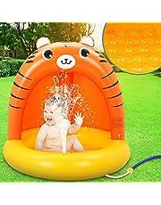LETOMY Piscina Inflable para Bebés, Hinchable Infantil, Pequeña Tigre Naranja Splash Pool para Niños, Aspersor de Juego con Fondo de Burbuja Inflable de Doble Capa para Jardín/Piscina/Playa