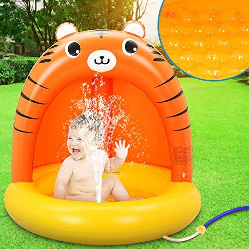 LETOMY Aufblasbares Planschbecken, Splash Baby Pool Mit Sonnenschutz, Splash Kinderzelt Schwimmbecken, Haustiere -Baby Shaded Pool Wasserspray, Sommer Wasserspielzeug für Garten Strand