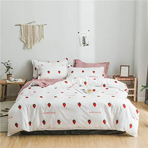 Kimko Kids Strawberry Bedding Set- Girls Reversible Red Strawberry Pattern & Pink Cover -4Pcs -1 Duvet Cover Set + 1 Bed Sheet + 2 Pillowcases (Twin, Strawberry)