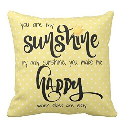 Yqy You Are My Sunshine Yellow Black Tiny Polka Dots Throw Pillow Case (45cm x 45cm, Two Sides)