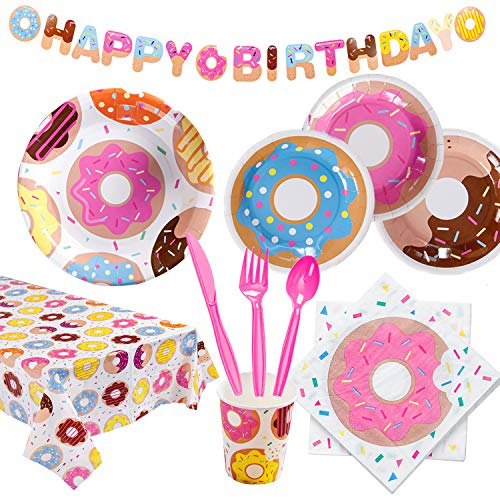 Jilimeli Donut Birthday Party Supplies Kit - Serves 16, Includes Plates, Cups, Napkins, Cutlery, Happy Birthday Banner and Tablecloth, for Donut Themed Baby Birthday Decoration, Disposable Tableware Party Pack for Girls and Boys