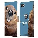 Head Hülle Designs Offizielle Animal Club International Biber Gesichter Leder Brieftaschen Huelle kompatibel mit BlackBerry Motion