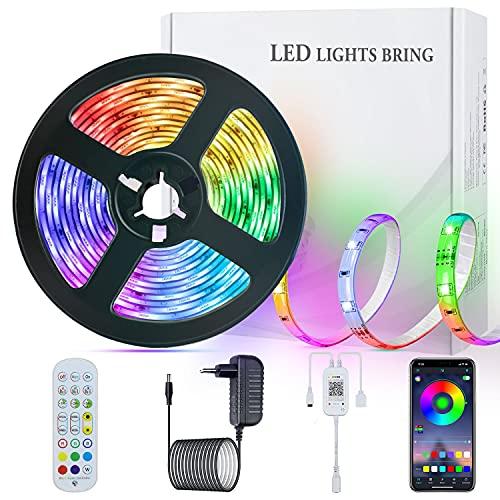 LED Strip Streifen Farbwechsel Lichterkette 5M RGB mit Fernbedienung und Bluetooth Kontroller Sync zur Musik, Anwendung für Schlafzimmer, Party und Feriendekoration[Energieklasse A+]