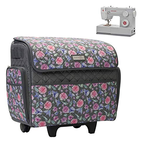 Everything Mary Deluxe Quilted Pink and Grey Floral Rolling Sewing Machine Tote - Sewing Machine Case Fits Most Standard Brother & Singer Sewing Machines, Sewing Bag with Wheels & Handle
