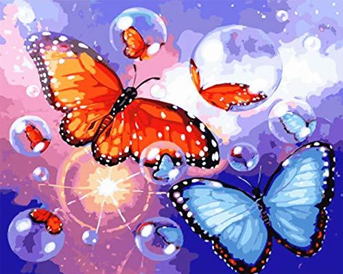 Gbrand Pintura por Números para Adultos y Niños, Mariposas y Burbujas Pintar con Números por Números Decoración del Hogar, Sin Marco, 40 x 50 cm Sin Marco