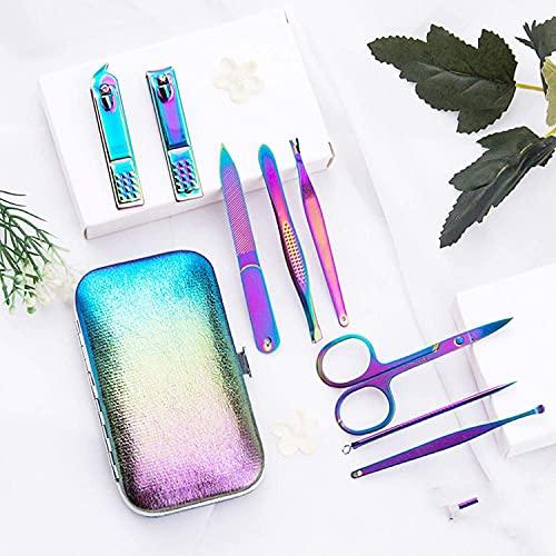 miscellaneous Set de manicura 18pcs Professional Nail Clippers Kit Pedicure Care ToolsStainless Steel Rainbow Manicure Kit con Estuche de Cuero PU para Viajes y hogar (Color : 8piecesinset)