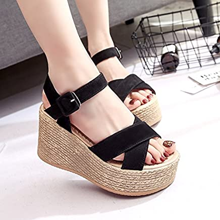 52444ead HOESCZS Sandals Female Summer New Muffin Wedges Platform Sandals Waterproof  Platform Solid Color Women'S Sandals Fashion