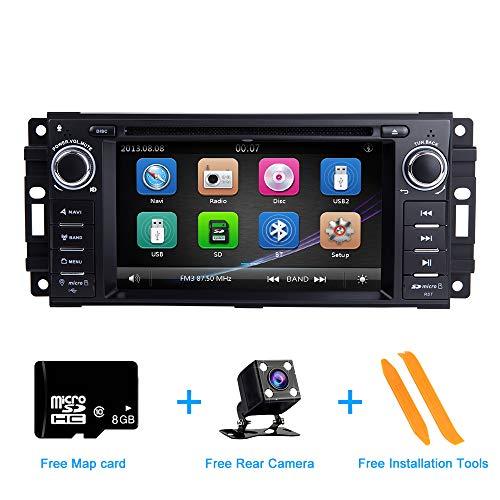Autoradio Stereo, ZLTOOPAI für Dodge Ram Challenger Jeep Wrangler JK Haupteinheit 6,2-Zoll-kapazitiver Multi-Touchscreen GPS-Radio mit kostenloser Kartenkarte Rückfahrkamera-Demontagewerkzeuge