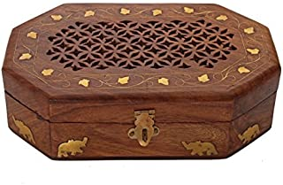 Regal Hand Carved Rosewood Jewelry Box Organizer with Intricate Carvings by Store Indya