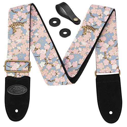 BestSounds Guitar Strap Pink Cherry Blossom Includes Strap Button & 2 Strap Locks.Leather Ends Guitar Shoulder Strap For Bass, Electric & Acoustic Guitars (Pink Cherry Blossom)
