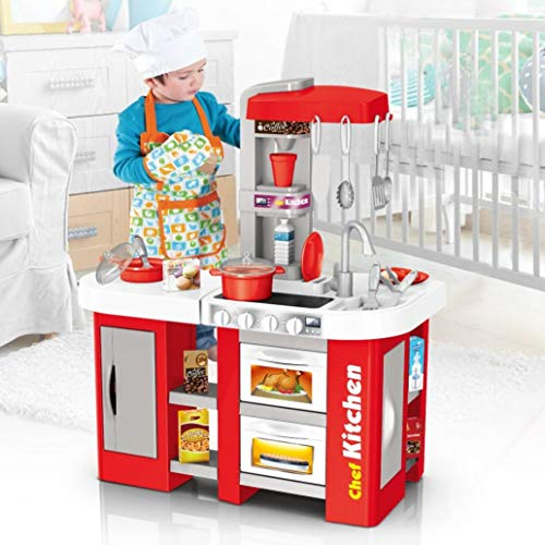 YFF Kids Kitchen Playset Role Pretend Play Cooking Toy Sets with All Sights & Running Water Sounds Food Learning Education Games Toys,Best Christmas Birthday Gift for Children(100% Guarantee)