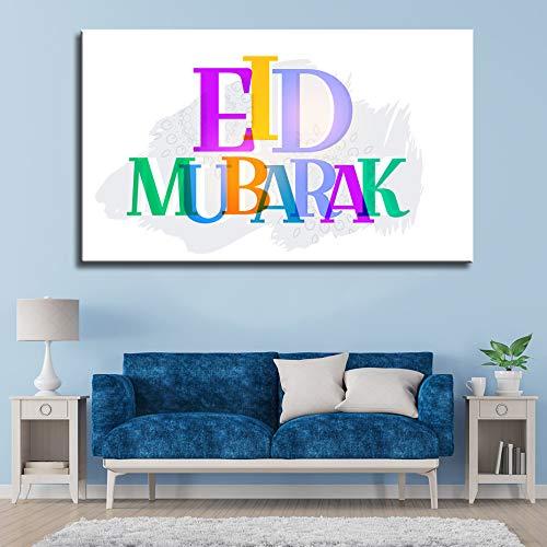 N / A Grande Fumetto Eid Mubarak Islamico Wall Art Poster Tela Pittura moschea Poster Poster Ramadan Camera dei Bambini Decorazione della casa Senza Cornice 40x80 cm