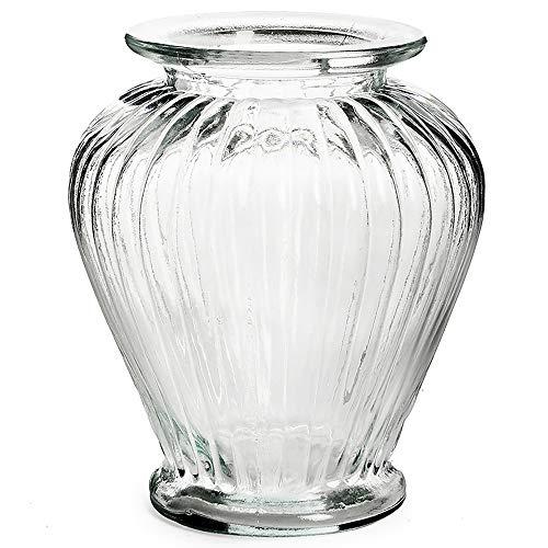 Vase aus Glas Vintage in geriffelter Optik 16 x 20 cm - Blumenvase - Tischvase - Glasvase für die Tischdeko