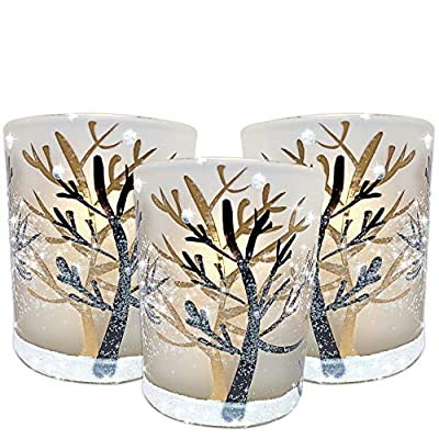 Glittery Winter Trees and Snow Set Frosted Glass Votive Candle Holders with Three Flameless Flickering LED Tealights Included