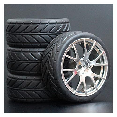 HYZZ Neumáticos de Coche de Juguete 4 Uds 26mm Neumáticos De Goma RC Y Llantas Hexagonales 12 para 1:10 para HSP para HPI para Sprint 2 para Drift RS4 En Carretera 4WD ( Size : 9061-6086 )