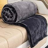 RATEL Mantas para Cama Gris 200 × 230 cm, Mantas para Sofa de Franela Reversible, Mantas Ligeras de 100% Microfibra - Fácil De Limpiar - Extra Suave Cálido