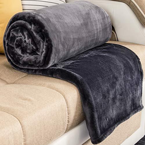 RATEL Kuscheldecke grau 200 × 230cm, Weiche Flauschige Plüsch Decke, Flanell Fleecedecke TV-Decken/Sofadecke/Wohndecke/Mikrofaser Couchdecke/Samtdecke - Pflegeleicht - Warm, Gemütlich, Langlebig