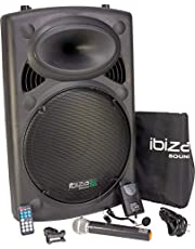 Ibiza Sound PORT15UHF-BT - Megafonía portátil, 15 pulgadas, color negro, 800W