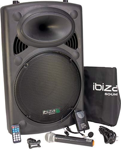 Ibiza Light & Sound PORT15UHF-BT Mobile Sound 15 Zoll, 800 W Beschallungsanlage/DJ Box mit Bluetooth, USB, Akku, 2x UHF Mikro und Radio