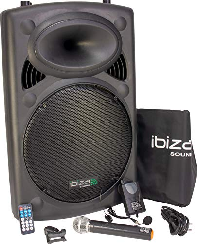 Ibiza Light & Sound PORT15UHF-BT Mobile Sound 15 Zoll, 800 W Beschallungsanlage/DJ Box mit Bluetooth, USB, Akku, 2x UHF Mikro und Radio