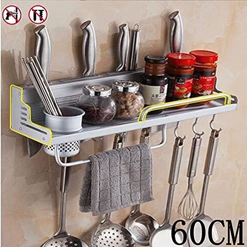 Köksställ utan stansning Vägghylla Hyllor för knivar Butikshylla för hushållsbruk Silver 60cm (1 kopp)