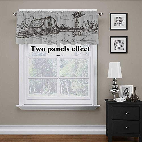 Window Valance Rustic Barn Farmhouse Hand Drawn Illustration Countryside Rural Meadow Print Window Valance for Living Room/Kitchen/Bedroom Taupe White 54 x 12 Inch