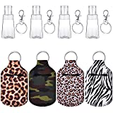 12 Pieces Travel Bottle Keychain Holders Set Included Colorful Chapstick Key Chain Holders 30 ml Refillable Empty Bottles Travel Containers for Soap Lotion Liquids and Keychain Hook Rings