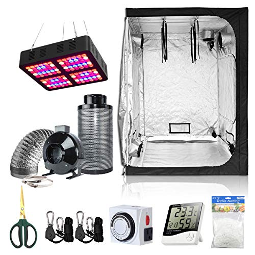 BloomGrow 60''x60''x80'' Grow Tent + 6'' Fan Filter Duct Combo + 600W Full Spectrum LED Grow Light + Hangers + Hygrometer + Shears + 24 Hour Timer + Trellis Netting Indoor Grow Tent Complete Kit
