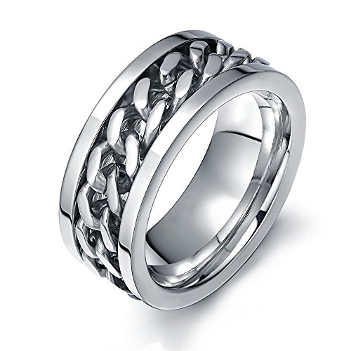 Ben Men's Fashion Silver Stainless Steel Wide 8mm Spinner Chain Shaped Ring,Size 9